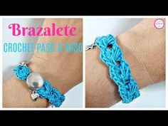 Learn to crochet pretty easy bracelet. I love the sensible colors of this bracelet and their amazing, nearly hypnotic design. It is very simple and great gift. Crochet Blanket Patterns, Crochet Stitches, Pandora Leather Bracelet, Pandora Bracelets, Joelle, Crochet Bracelet, Craft Shop, Crochet Videos, Learn To Crochet