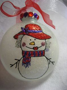hand painted Red Hat society Lady snowman Christmas ornament by CreationsbyGena
