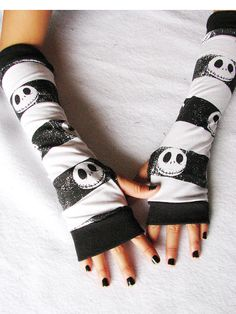 The Nightmare Before Christmas Jack Skellington head black & white horizontal stripes stretchy knit arm-warmers that reach elbow