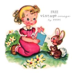 Awesome Free Vintage Clip Art: Pretty Little Girl And Her Pet Bunny