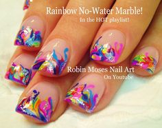 Neon Rainbow Marble Nails! - No Water needed Nail Art Tutorial
