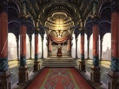 Giclee Print: Inside the Castle of the Orient: The King Who Sits on the Throne by Kyo Nakayama : 1 Fantasy City, Fantasy Castle, Fantasy Places, Medieval Fantasy, Fantasy World, Dark Fantasy, Sci Fi Fantasy, Fantasy Rooms, Fantasy Inspiration