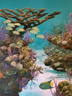 Molasses Reef Prints and Original Featured at John Pennekamp Coral Reef State Park Underwater City, Underwater Painting, Fauna Marina, Sea Plants, Beautiful Sea Creatures, Under The Ocean, Sea Art, Ocean Creatures, Tropical Fish
