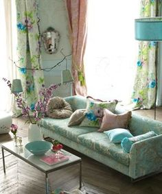 Living Room//Sofa, cushions, lamp in beautiful pastels from Designers Guild