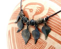 Tribal Wrought Iron Leaf Necklace, hand forged by Marleena Pontynen