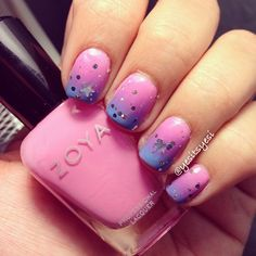 Gradient nails with star glitter