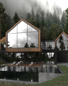 Modern architecture house design with minimalist style and luxury exterior and interior and using the perfect lighting style is inspiration for villas mansions penthouses Dream Home Design, Modern House Design, Modern House Facades, Loft Design, Dark House, Luxury Homes Dream Houses, Dream House Exterior, Dream House Plans, House In The Woods