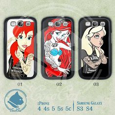 Disney Princess Phone Case, Samsung Galaxy S3 Case, Sasmugn Galaxy S4, Tattooed Disney Ariel, Case for Samsung on Etsy, $6.99