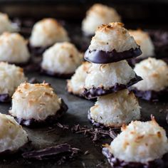 Chocolate-Dipped Coconut Macaroons- toasted on the outside, chewy on the inside and gluten free!