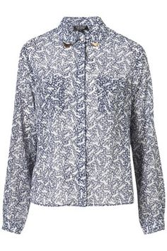 TOPSHOP  Horse Print Collar Tip Shirt
