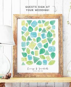 Guest Book Alternative with Watercolor Gems by MissDesignBerryInc