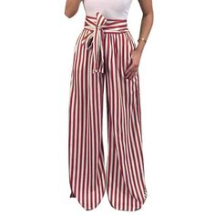 Elogoog Hot Sale 2018 Womens High Waisted Wide Leg Striped Tie Waist Casual Palazzo Pants Cropped Capris Silver