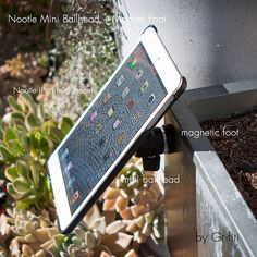 Grifiti Nootle Magnetic Foot Mini Ball head with Nootle iPad mini mount in action