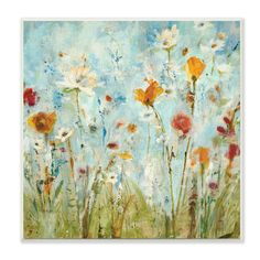 Stupell Decor Abstract Summer Wildflowers Wall Plaque Art - CCP-171_WD_12X12