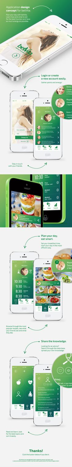 Application design concept for belVita. Learn how and what to eat for the best function and have as much energy as possible Mobile Application Design, Mobile Ui Design, Gui Interface, User Interface Design, App Design Inspiration, Ui Web, Design Reference, Graphic, Nutrition