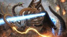 Mecha-King Ghidorah vs Godzilla