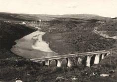 Antiguo puente de Hinojal, la torre de Floripes y el puente romano de Alconétar en su situación original.