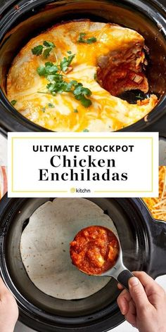 How To Make Easy Creamy Crockpot Chicken Enchiladas. Looking for quick and easy weeknight meals and dinners to make in your slow cooker or crock pots? This meaty casserole is perfect tex mex comfort f Enchilada Pasta, Casserole Enchilada, Enchilada Recipes, Chicken Casserole, Mexican Enchiladas, Enchiladas Healthy, Slow Cooker Huhn, Slow Cooker Recipes, Food Recipes