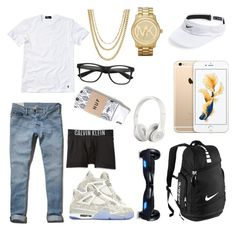 """""""icey"""" by mepappi ❤ liked on Polyvore featuring Abercrombie & Fitch, NIKE, Polo Ralph Lauren, ASOS, Michael Kors, Calvin Klein Underwear, R2, Beats by Dr. Dre and HUF"""