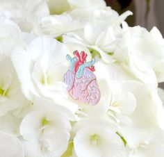 Anatomical Heart Enamel Pin Anatomical Pastel by HeatherBuchanan