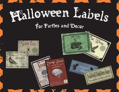 Printable Digital Halloween Jar Labels for Parties and Decor - Set of 8. $3.99, via Etsy.