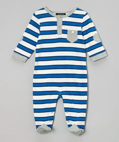 Another great find on #zulily! White & Blue Stripe Footie by Isaac Mizrahi New York #zulilyfinds