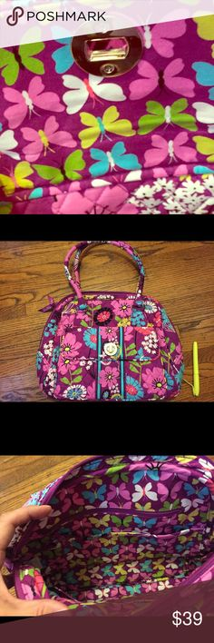 NWT Vera Bradley satchel Brand new with tag Vera Bradley quality piece! Cute inner butterfly pattern great sewing! Good for the gift . Wallet is sold separately with Matching inside pattern please look at my list! Vera Bradley Bags Satchels