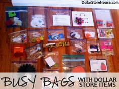 Great ideas in this article to teach children about colours, numbers etc......Busy Bags with Dollar Store Items