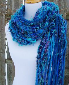 Sea Foam Chunky Hand Knit Scarf Hand Spun Wool Turquoise Lux Sari Silk Fringy Wispy Accents Funky Winter Fashion on Etsy, $38.00