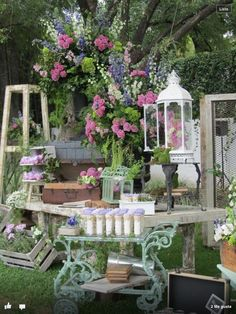 Moss loves these ideas for your summertime event at our venue! Rustic Country Wedding Decorations, Sweet Bar, Deco Floral, Vintage Floral, Vintage Candy, Party Decoration, Candy Table, Outdoor Furniture Sets, Outdoor Decor
