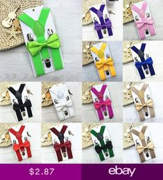 Polyester Kids Suspenders and Bowtie Bow Tie Set Matching Ties Outfits HN afa6083eb36