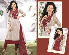 $108.19 White Embroidered Jacquard Anarkali Salwar Kameez 23048