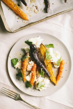 Roasted Rainbow Carrots with Mozzarella — A Thought For Food