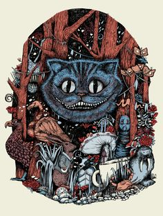 """- Inspired by Lewis Carroll's Alice - Screen Print - Limited Edition of 100 - Approximately 18"""" x 24"""" © Disney"""