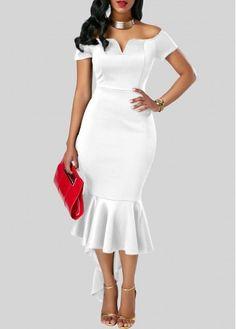 White Off The Shoulder Asymmetric Flounce Hem Sheath Dress Bardot Dress Split Neck Asymmetric Hem White Bardot Dress White Sheath Dress, White Dress, Sheath Dresses, White Cloak, Sexy Evening Dress, Evening Dresses, Women's Fashion Dresses, Casual Dresses, Fashion Over 40