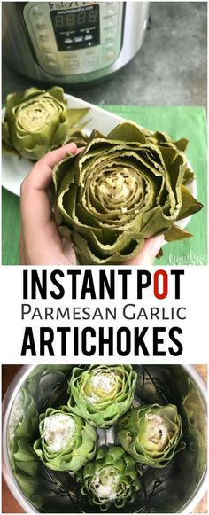 Healthy Meals Instant Pot Parmesan Garlic Artichokes - YUMMY Family Fresh Meals Recipe - These Instant Pot Parmesan Garlic Artichokes cook in half the time, and you don't have to watch them at all. They are so yummy you won't even need butter! Instant Pot Pressure Cooker, Pressure Cooker Recipes, Pressure Cooking, Slow Cooker, Pressure Pot, Lunch Snacks, Crepe Vegan, Crockpot Recipes, Cooking Recipes