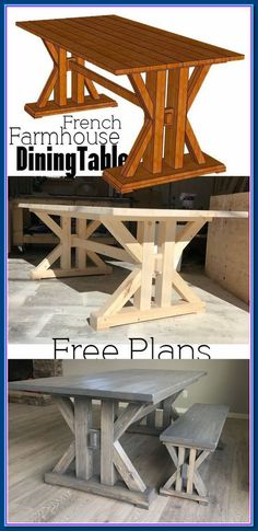 In need of the perfect farmhouse table? Why not DIY this French Farmhouse Dining Table Free Plans for the home kitchen In need of the perfect farmhouse table? Why not DIY this French Farmhouse Dining Table Free Plans for the home kitchen Farmhouse Table Plans, Farmhouse Kitchen Tables, Farmhouse Furniture, Rustic Furniture, Furniture Design, Furniture Ideas, Kitchen Rustic, Garden Furniture, Diy Kitchen Tables