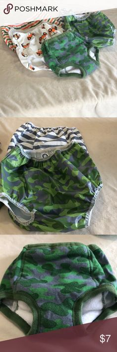 Training underwear, plastic underpants lot Great never used condition , all 2t- 3t sizes , five pairs of the plastic pants and one pair of the cotton/ polyester training pants , super adorable prints Gerber Accessories Diaper Covers
