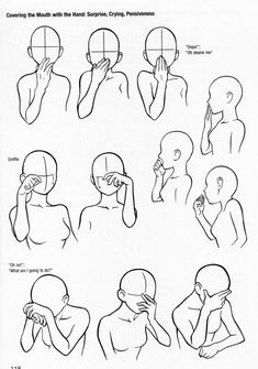 Covering the Mouth with the Hand: Surprise, Crying, Pensiveness, text, hand positions, face; How to Draw Manga/Anime
