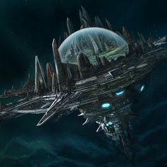 An artwork made for Paizo's starfinder. Spaceship Art, Spaceship Design, Space Fantasy, Fantasy City, Arte Sci Fi, Sci Fi Art, Futuristic City, Futuristic Architecture, Space Opera