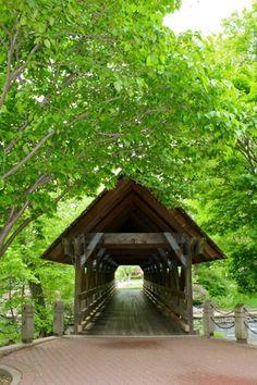 across the covered bridge