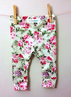 Floral Baby Leggings pink flower toddler leggings kids clothes fashion baby floral mint and pink on Etsy, $15.00