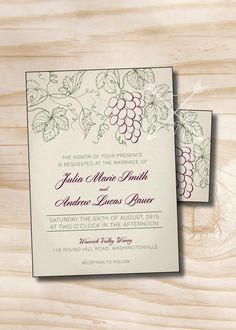 RUSTIC VINEYARD Wedding Invitation/Response by PaperHeartCompany
