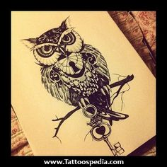 Black and White painting Awesome design animal tattoo Key owl tattoo design key hole owl drawing Owl Tattoo Drawings, Tattoo Owl, Tattoo Pics, Tattoo Images, Owl Tattoo Back, Drawing Owls, Owl Tattoo Meaning, Cubs Tattoo, Sick Tattoo