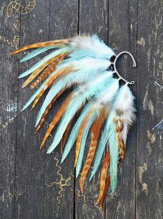 Feather Ear Cuff - Autumn Sky