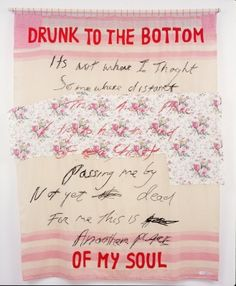 Tracey Emin  Drunk to the bottom of my soul 2002 76 3/8 x 63 in. (194 x 160 cm) Appliquéd and embroidered blanket Photo: Stephen White
