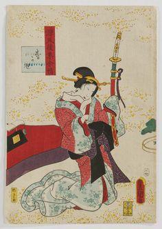 Ch. 18, Matsukaze, from the series Lingering Sentiments of a Late Collection of Genji (Genji goshû yojô) [pun on The Fifty-four Chapters of the Tale of Genji (Genji gojûyojô)]  Japanese 1858 (Ansei 5), 7th month Artist Utagawa Kunisada I (Toyokuni III) (Japanese, 1786–1864)