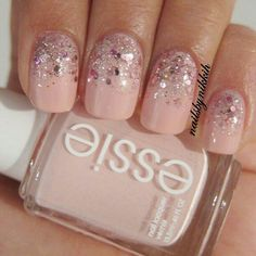 Simple but pretty glitter nails - Essie 'fiji', OPI 'pink yet lavender' and 'you glitter be good to me'.  From: Nikki H. @nailsbynikkih.  She has a very good blog with lots of nail art ideas:  http://nailsbynikkih.blogspot.com/