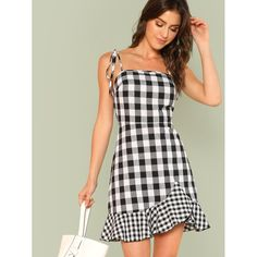 To find out about the Asymmetrical Ruffle Hem Gingham Tied Cami Dress at SHEIN, part of our latest Dresses ready to shop online today! Casual Summer Dresses, Trendy Dresses, Cute Dresses, Fashion Dresses, 50 Fashion, Dress Casual, Fall Dresses, Outfit Trends, Outfit Ideas