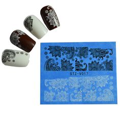 1pcs DIY Salon Nail Art Sexy Decals Black&White Flowers Watermark Styles Nail Art Sticker DIY Manicure Pedicure Wraps STZ-V017 #clothing,#shoes,#jewelry,#women,#men,#hats,#watches,#belts,#fashion,#style